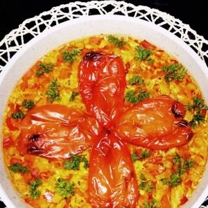 Рис с нутом и треской под накидкой тореадора