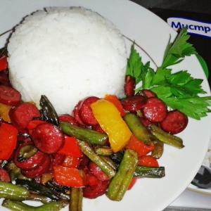 Рис - Рис с охотничьей колбаской и овощами