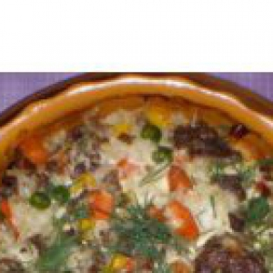 Капуста белокачанная - Рисовая запеканка с фаршем и овощами