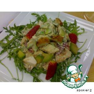 Манго - Салат из куриной грудки с клубникой