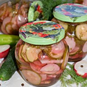 Салат из редиса и огурца на зиму