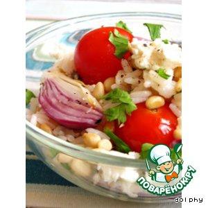 Брынза - Салат из риса с печеными помидорами, брынзой и кедровыми орешками