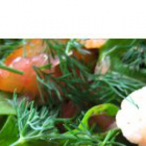 Грейпфрут - Салат   из   семги,   креветок   и   грейпфрута   с   соусом