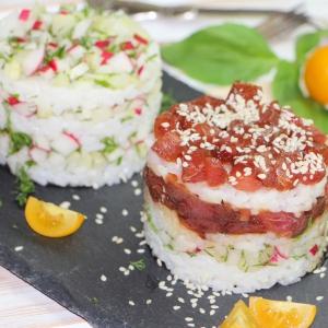 Редис - Салат с овощами и тунцом А-ля суши
