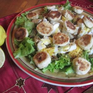 Творог - Салат с сырниками, грибами и яйцами