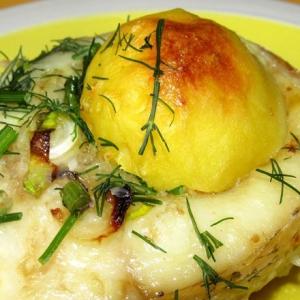 Запеченная рыба - Щука в чесночно-сливочном соусе