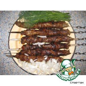 Рецепты казахской кухни - Шашлык из печени
