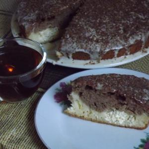 Тесто - Шоколадно-сливочный кекс с творожными шариками