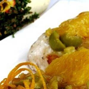 Лук-шалот - Сибас с апельсинами и оливками
