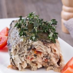 Скумбрия - Скумбрия с рисом, грибами и вялеными томатами