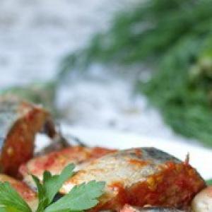Перец белый - Скумбрия с томатами