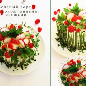 Редис - Соленый торт с беконом, яйцами и овощами