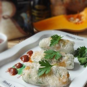Рецепты из круп - Спринг-роллы с тыквой и рисом