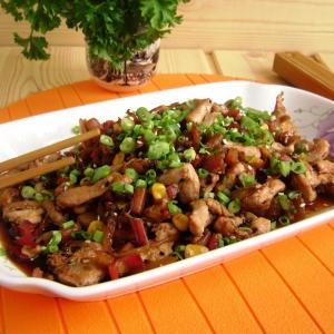 Шип - Стир-фрай из курицы с черешками мангольда