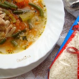 Фасоль - Суп рисовый с зелёной фасолью