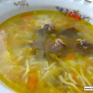 Суп с куриными сердечками и красной чечевицей