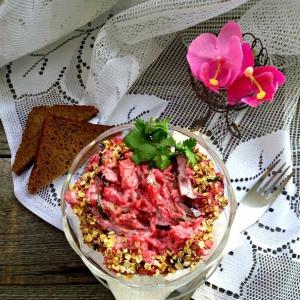 Вешенки - Свекольный салат с грибами и баклажанами