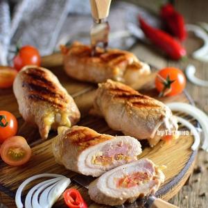 Свинина - Свиные гриль-рулетики с томатной сальсой