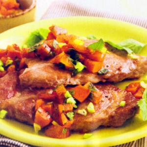 Мята - Свиные отбивные с соусом из хурмы