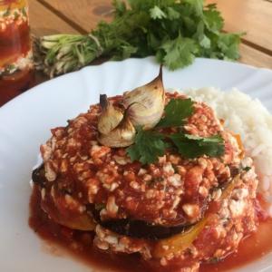 Рис - Сырная закуска с запечёнными овощами