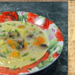 Морковь - Сырный суп с грибами