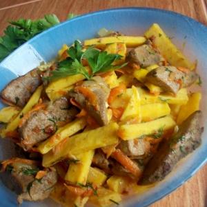 Пользователи - Теплый салат из печени с омлетом