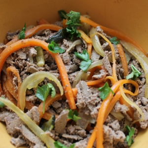 Морковь - Теплый салат с печенью