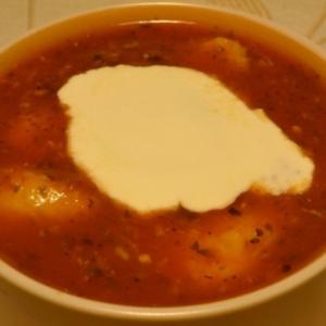 Перец белый - Томатный суп с манными клёцками