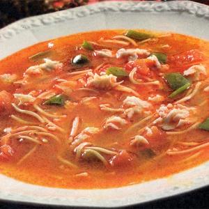 Морепродукты - Томатный суп с морепродуктами