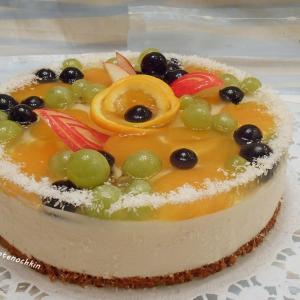 Фрукты - Творожно-желейный торт с фруктами