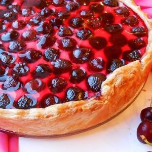 Черешня - Творожный пирог с черешней