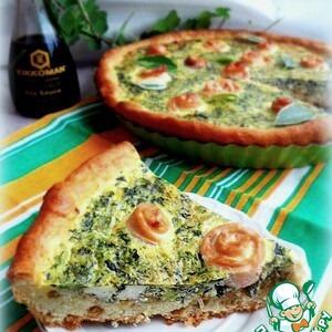 Шпинат - Творожный пирог с рыбными розами в заливке