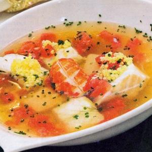 Рецепты супов - Уха из трески с креветками