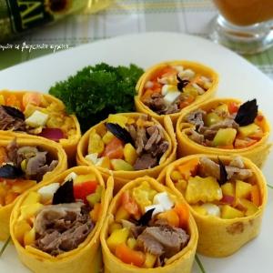 Манго - Закуска из тортильи с утиным мясом