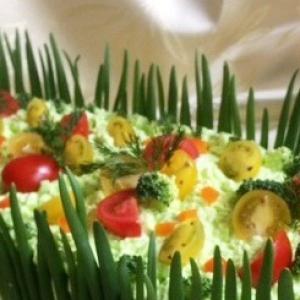 Брокколи - Закусочный торт «Наполеон» с красной рыбой