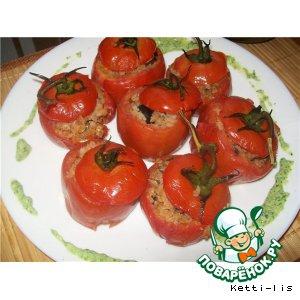 Анчоус - Запеченные помидоры с гречневыми хлопьями, маслинами и анчоусами в оливковом масле