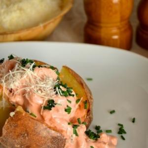 Лук-шалот - Запечённый картофель с креветками