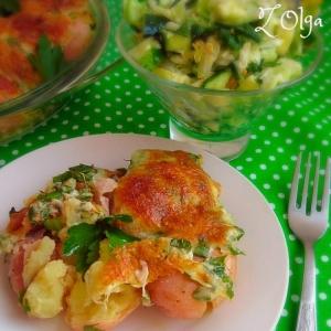 Рецепты гарниров - Запеченный молодой картофель с сыром сулугуни