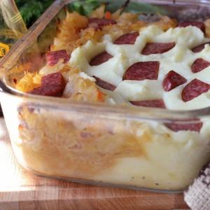 Колбаса - Запеканка из квашеной капусты